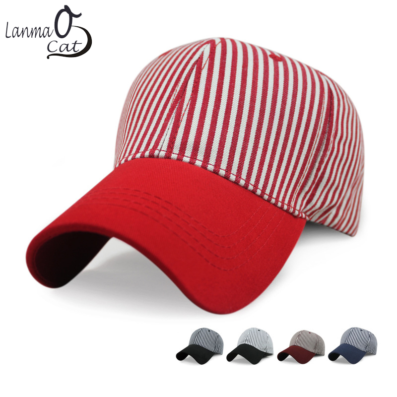 Contemplative Lanmaocat Casual Caps Women Cotton Print Stripe Hats Baseball Cap Stipe Hat Ball Cap Adjustable Strip Hat Free Shipping Products Hot Sale Apparel Accessories