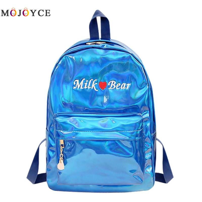 Holographic Laser PU Leather Women Backpacks Letters Embroidery Girls Shoulder School Backpack Hologram Satchel sac a dos femme yesello embroidery letters crybaby hologram laser backpack women soft pu leather backpack school bags for girls nbxq194