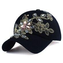 Floral Cotton Summer Baseball Cap Women Harajuku Adjustable Snapback Cap Rhinestone Denim Hat Casual Sun Protection Sunscreen