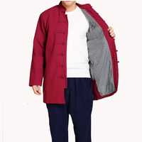 New Winter Burgundy Men Thick Shirt Mandarin Collar Kung Fu Casual Long Tops Chinese National Cotton Linen Clothing M 4XL