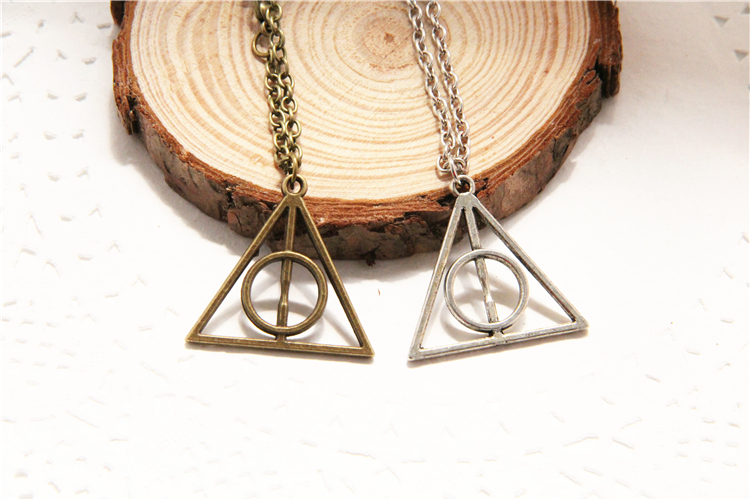 ZRM HP Necklaces Luna Triangle Deathly Hallows Geometric Triangle Pendant Vintage Necklaces Men Women Gifts