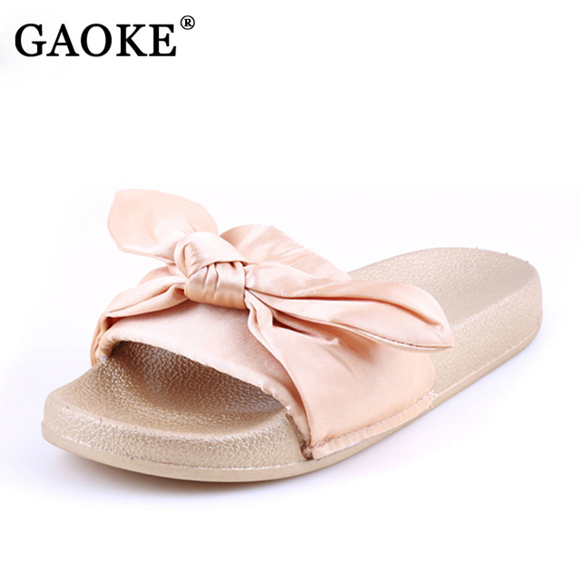 7e4859537f82 2018 Autumn Summer Cute Silk Bow Slides Women Summer Beach Shoes Woman  Slippers Bow Flats Flip Flops Ladies Bohemia Sandals