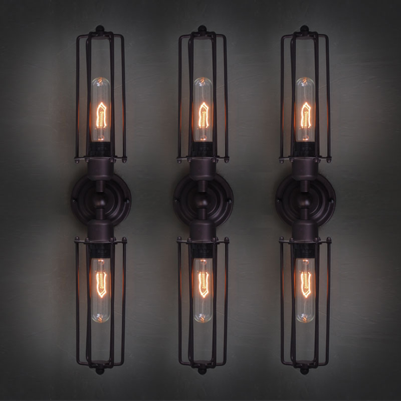 A1 Industrial iron lamp loft simple American lights in the basement stairs aisle bed retro long iron double Bar wall lamp GY92 american creative fashion led the study bedroom mirror before the long arm of the head of a bed wall lamp wrought iron long arm
