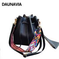 DAUNAVIA Luxury Handbag Women Bag Designer Brand Shoulder Bag Female Drawstring Bucket Bag Pu Leather Crossbody