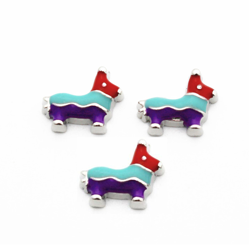 Hot Sale 10pcs/lot Metal Enamel Colorful Dog Floating Charms For Living Glass Floating Lockets Pendant Necklace DIY Jewelry