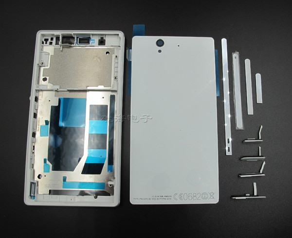 New <font><b>Battery</b></font> Cover Replacement for <font><b>Sony</b></font> <font><b>Xperia</b></font> <font><b>Z</b></font> L36h LT36 <font><b>C6602</b></font> C6603 Housing Middle Frame+<font><b>Battery</b></font> Glass Back Cover+Dust plug image