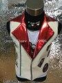 Мода Хип-Хоп Стиль Джаз Кожаный Жилет Куртка Певец Костюм наряд Производительности Панк Dj Жилеты Верхняя одежда Показать Одежда