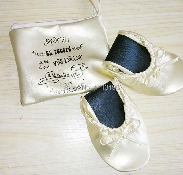 b215edfa9b44 Fashion design wholesale foldable shoes folding ballerina shoes for wedding  gift
