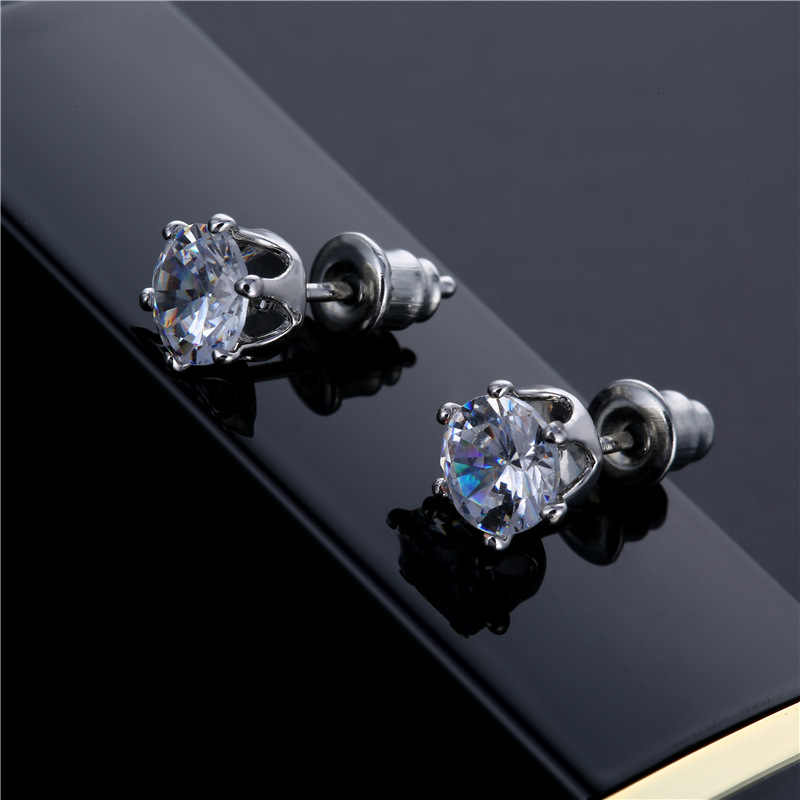 Fashion Cute Small Crystal CZ Stud Earring For Women Girls Kids Silver Tiny Earrings Jewelry Christmas Gifts