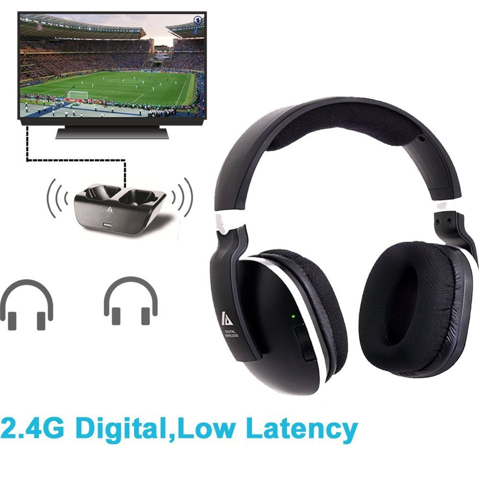 Wireless Headphones for TV with RF Transmitter for Watching and Listening Digital Over Ear Cordless TV Headphones Rechargeable