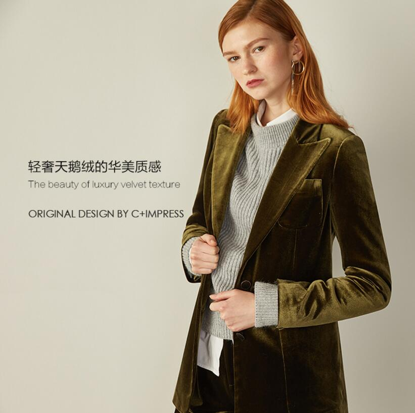 Olive green gold velvet suit 2017 Women new stitching pajamas wind casual suit jacket female fashion Outwear