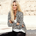 New Leopard Women Fashion Jacket Spring and Autumn Sexy Cardigan Slim Knitted Outerwear Coat  A225