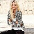 Nuevo Leopardo de Las Mujeres de Moda Chaqueta de Primavera y Otoño Sexy Cardigan Delgado de Punto Prendas de Abrigo A225