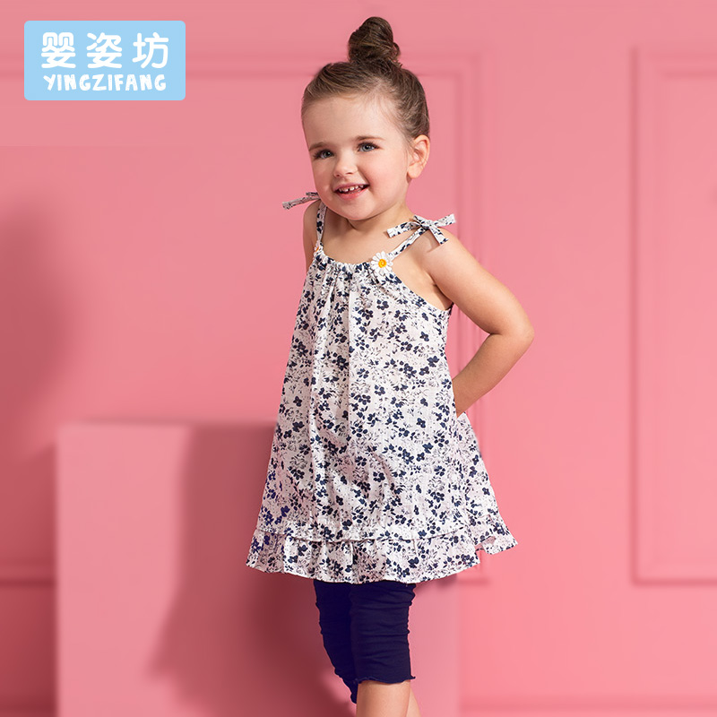 2017 Promotion Sale O-neck Pullover Casual Floral Summer Girl Clothes Kids Girls Flowers Dress + Shorts 2 Pieces Clothing Set girls tshirt brand hollow sleeveless o neck baby girl shorts solid elastic waist 2 pieces kids clothes girls 2792w