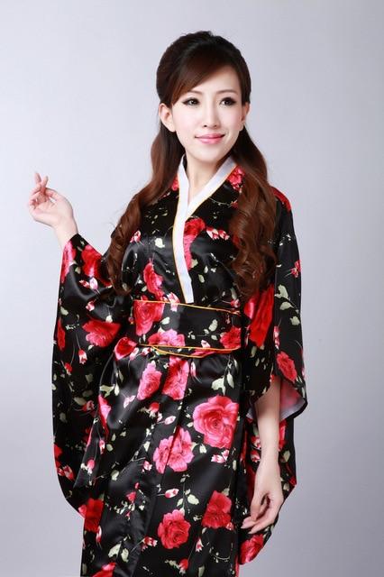 Silk Japanese Kimono Dress Vintage Female Kimono Stage Dance Dress Japanese  Traditional Costume Female Yukata Bathrobe d7eca36d3