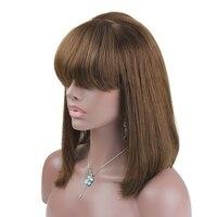 Eseewigs короткий Боб полное кружева парики человеческих волос свет яки прямо Glueless Волосы remy парик с челкой отбеленные узлы для Для женщин