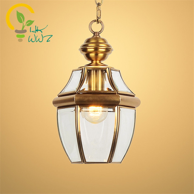 Modern Balcony Antique Led Pendant Lamps Copper Vintage Gl Lights Bar Corridor Outdoor Indoor Light Hanglamp Fixtures