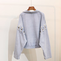 2019 Real Rushed Cotton Casual Jacket Jaqueta Feminina Inverno Bomber Jeans Jacket Women And Long Pearls Hollow Pierced Loose