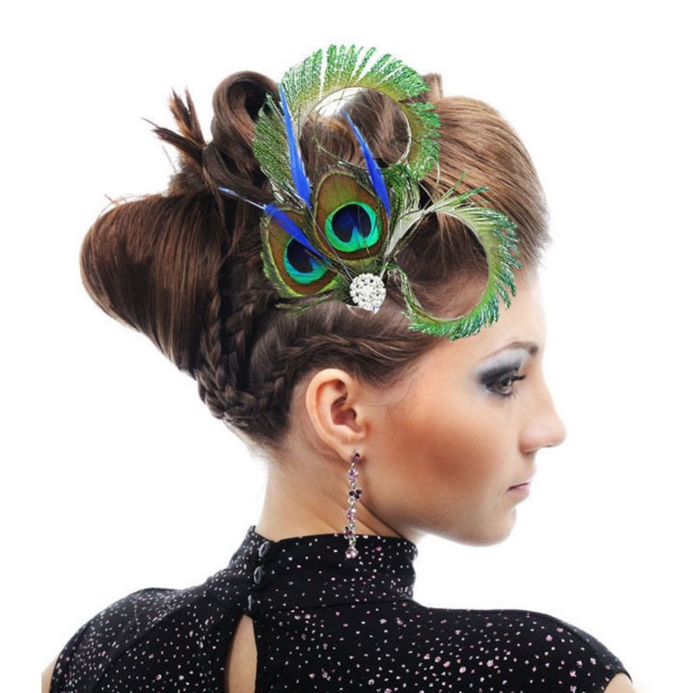 1 PC Chic Colorful Peacock Feather Crystal Rhinestone Hair Clip Hairpin For Women Bridal Hair Accessories Jewelry