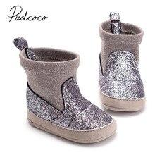 Новые брендовые ботинки с блестками для новорожденных мальчиков и девочек осенне-зимние эластичные ботинки на мягкой подошве для детей 0-18 месяцев