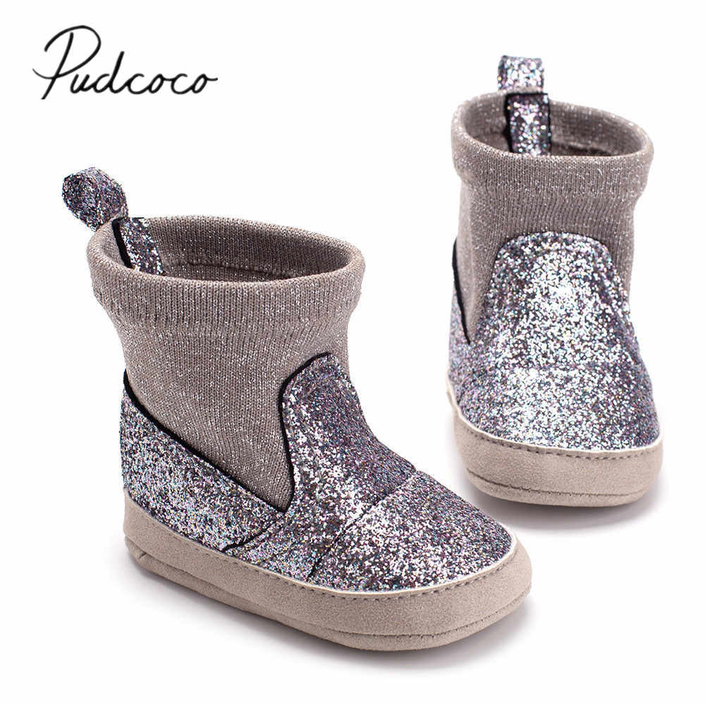7a701824d9f7 Detail Feedback Questions about 2018 Brand New Newborn Infant Baby Girls  Boys Sequined Boots Autumn Winter Soft Sole Prewalker Elastic Snow Shoes  Boots 0 ...