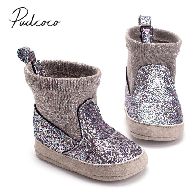 2018 Brand New Newborn Infant Baby Girls Boys Sequined Boots Autumn Winter Soft Sole Prewalker Elastic Snow Shoes Boots 0-18M