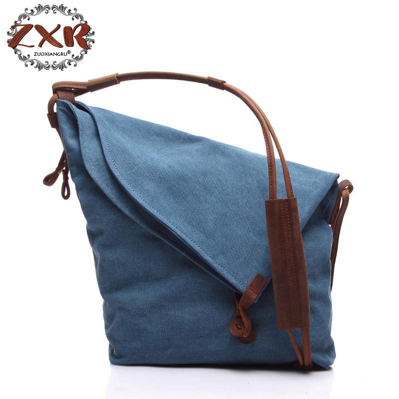 Canvas Crossbody Messenger Shoulder Handbag Tote Vintage School Youth Khaki Travel Bags Large Weekend Bag