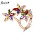 NEWSKY Luxury Flower Rings For Women 2016 Engagement Ring Women Jewelry Three Flower Rose Gold Plated Rings For Women #R0004