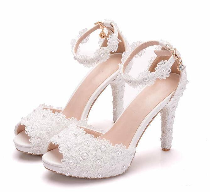 Women Shoes White Sweet Lace Flower Wedding Shoes Woman Fish Mouth High Heels Shoes Thin Platform Shoes Buckle Dress Pumps 40 41
