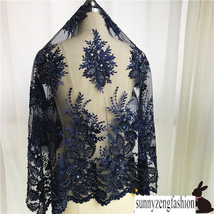 Heavy Work Embroidery Beading Lace Fabric Luxury Evening Dress Lace Fabric