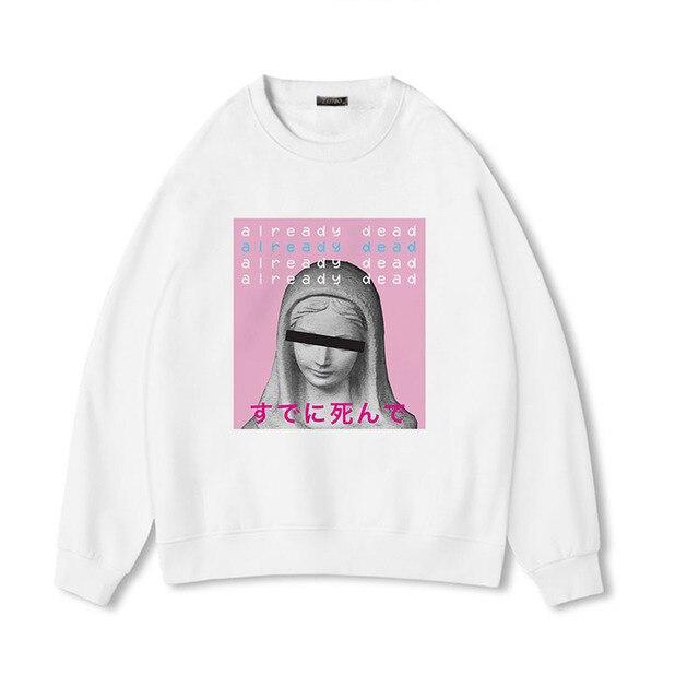 2018 neue Mode Frauen Pullover vaporwave tumblr ästhetischen pullover Sammlung David Drucken Crewneck Harajuku Casual Sweatshirt