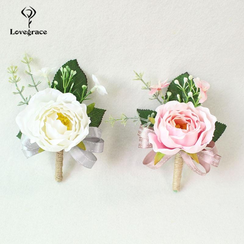 white Pink roses wedding  wrist corsage bracelet bridesmaid Boutonniere flowers (123)