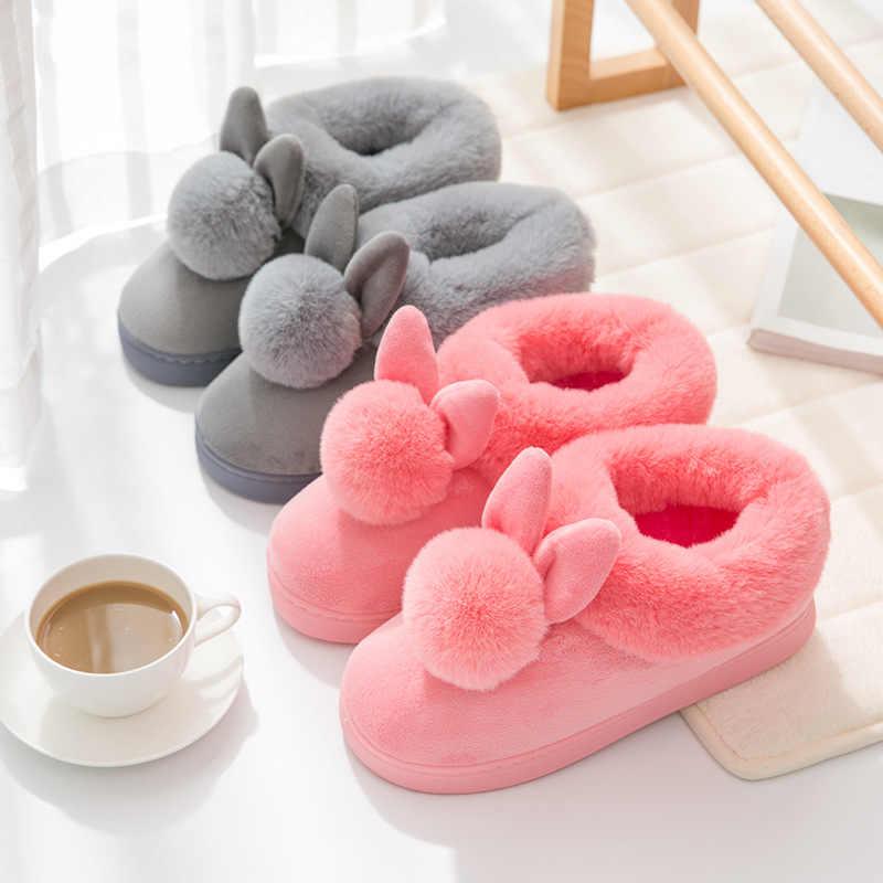 Ev Terlik Kadın Kürk Slaytlar Tavşan Flip Flop Katı Bayanlar Terlik Kabarık Peluş Terlik Yumuşak Kış Ayakkabı Zapatos De Mujer