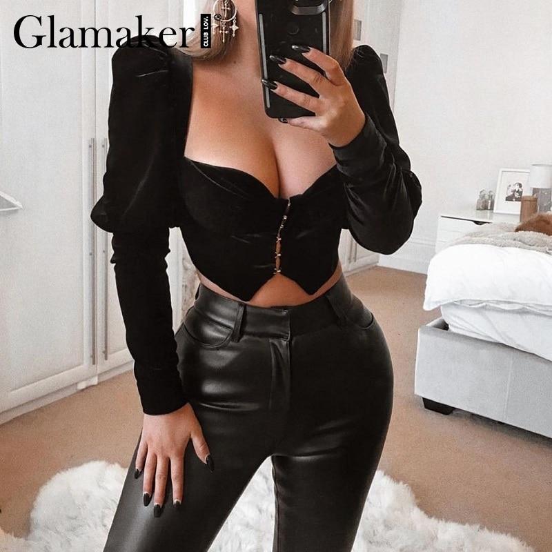 Glamaker Velour black push up sexy   blouse     shirt   Women summer long sleeve short   blouse   Vintage female square neck short top   shirt