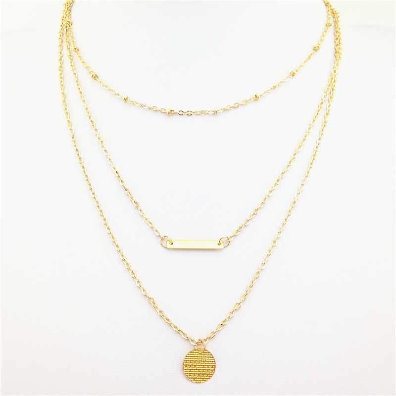 Free shipping 2015 Geometric metal Sequins multi layer necklace gold