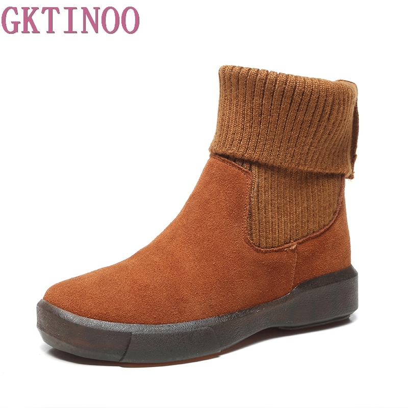 GKTINOO Brand Winter Shoes Women Boots Genuine Leather Slip On Round Toe Winter Snow Flats Chelsea Boots Ankle Boots Woman women winter flats genuine leather round toe match colored buckle rhinestone fur fashion ankle snow boots size 35 39 sxq0826