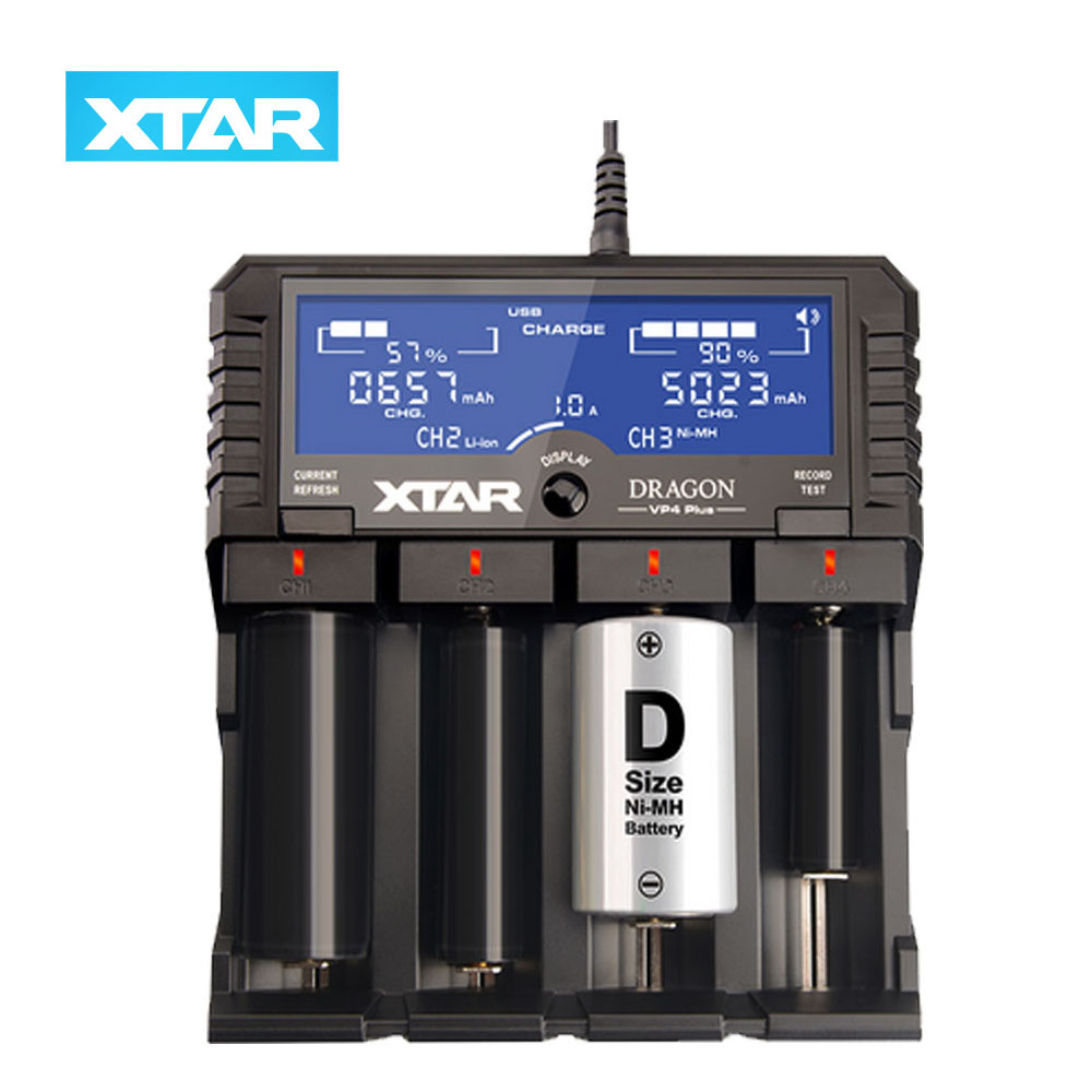 Original XTAR DRAGON VP4 PLUS Smart Battery Charger with Car Charger for 3 7V 18650 IMR