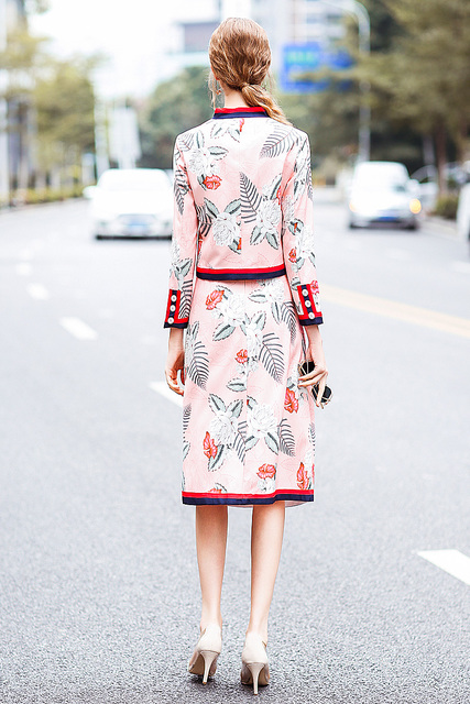 XF 2018 Fashion Runway Two-Piece Spring Summer Dress Women Bohemian Bow Print Button Coat + Floral Print Skirt Jacquard 2 Sets 3