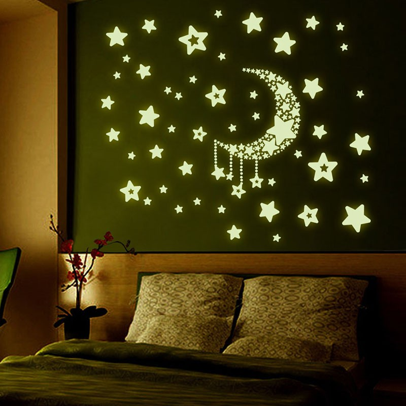 5 Styles Children Room Dormitory Decoration Glow Glass Window Fluorescence Meteor Stars Moon Permanent Luminous Wall Stickers
