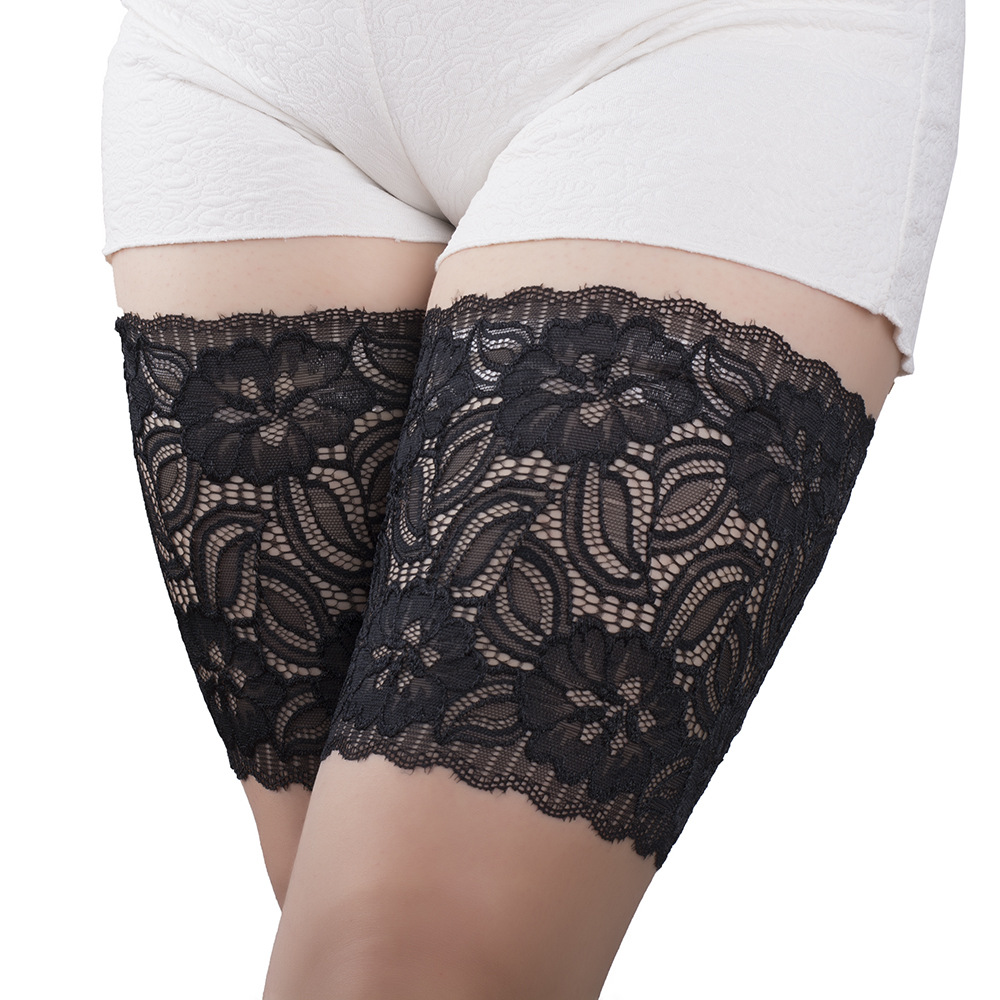 Women Sexy Lace Thigh Bands Garters Anti Friction With 2 Rows Of None Slip Silicone Summer Leg Warmers