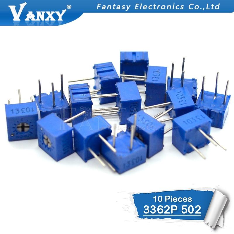 10PCS 3362P-1-502LF 3362P 5K Ohm 3362P-1-502 3362P-502 3362 P502 502 Trimpot Trimmer Potentiometer Variable Resistor