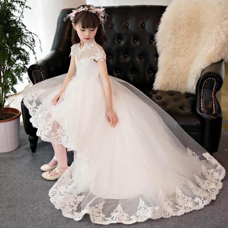 White Lace Ball Gown 2018 Princess Dress Long Train Evening Gowns for First Communion Flower Girls Dress Tulle Pageant Gown D137White Lace Ball Gown 2018 Princess Dress Long Train Evening Gowns for First Communion Flower Girls Dress Tulle Pageant Gown D137