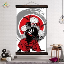 Japanese Samurai Modern Wall Art Print Pop Picture And Poster Hanging Scroll Canvas Painting Home Decor