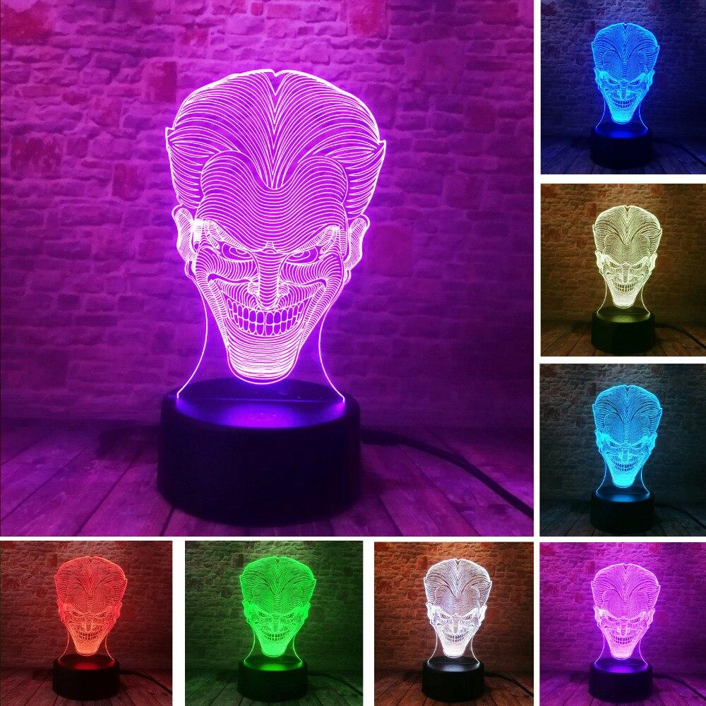 Jaunums 3D Hallowmas Smile Jack Ghost LED 7 krāsu gradients Nakts gaisma Atmosfēra Ilūzija Bērna lampa Draugs un Ģimene Ziemassvētki Dāvana