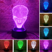 Novelty 3D Hallowmas Smile Jack Ghost LED 7 Color Gradient Night Light Atmosphere Illusion Child Lamp Friend & Family Xmas Gift
