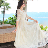 YOSIMI 2017 Summer Vestidos Maxi Vintage Lace Long Dress For Travel Tunic Slim Dress White Fairy Evening Party Dress Lady