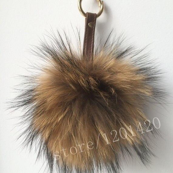 Длинные волосы Reccoon меховым помпоном женщина сумки шарм сумка ошибка автомобиль кольцо тотализатор очарование плеча шарм бумажник шарм