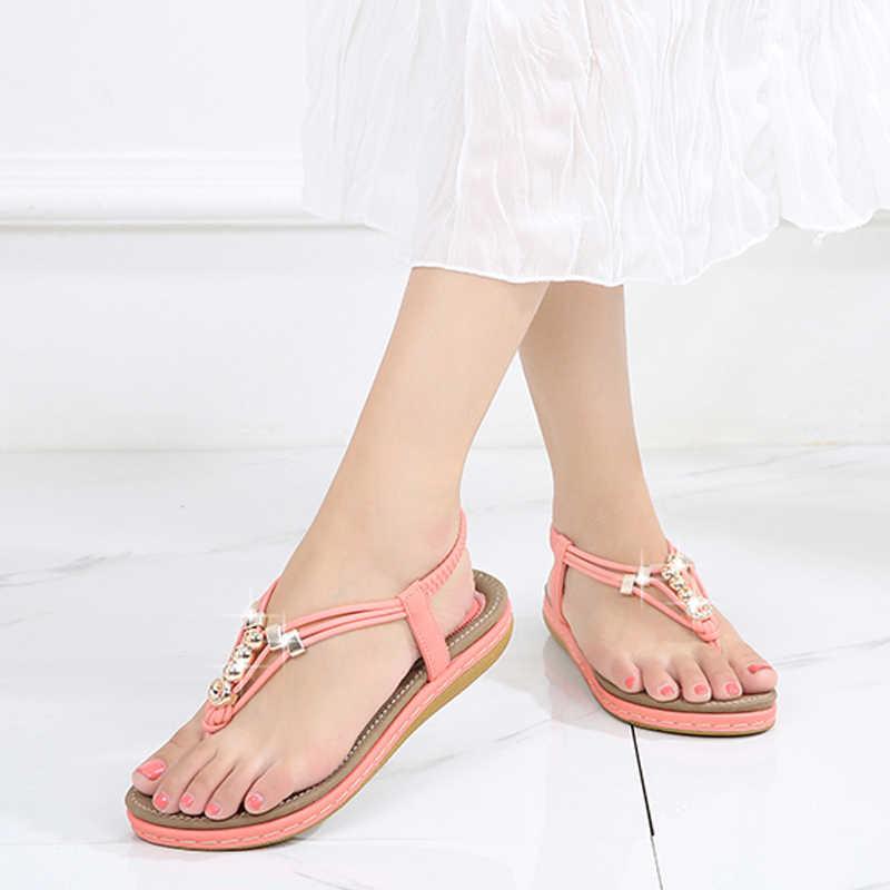 Yeni ayakkabılar bayan Sandalie yaz kadın sandalet Flip flop kadın ayakkabı Bohemia düz sandalet rahat kadın ayakkabıları katı Sandalias
