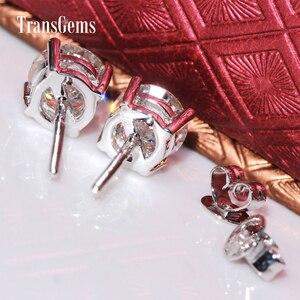 Image 4 - Transgems Classic Basket Setting 14K 585 White Gold 2CTW 6.5mm FGH Color Moissanite Stud Earrings For Women Screw for Women