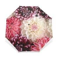Automatic Folding Flower Umbrella Rain Women Three Folding Customized Umbrella Female Rain Tools Unique Parasol Umbrella